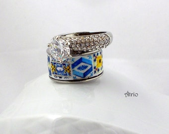 Portugal Antique Azulejo Tile Replica Ring SET - Stackable - Stainless Steel individually Placed US size 7 3/4, 18mm or UK P 1/2 OoAK