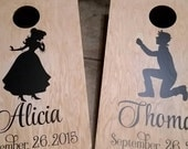 Wedding cornhole game decals - bride & groom - engagement anniversary party decals - personalized letters and date for boards