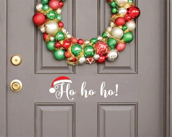 Santa Claus Door Decal with Ho Ho Ho Vinyl Letters Front Door Christmas Decoration Holiday Wall Decal Santa Hat with Vinyl Lettering Decal