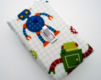 Robot Light Switch Cover - Robots Switch Plate Cover - Robot Boys Bedroom - Robot Nursery = Toddlers Robots Room - Green Blue Robot