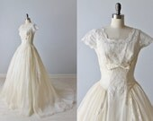 Vintage 1950s Wedding Dress / Lace Wedding Dress / Short Sleeves / Ballgown / Modest Wedding Dress / Emma