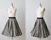 1950s Circle Skirt / 50s Full Skirt / Swing Skirt /  Gray and White Sketch Print