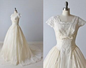 Vintage 1950s Wedding Dress / Lace Wedding Dress / Short Sleeves / Ballgown / Modest Wedding Dress / Emma