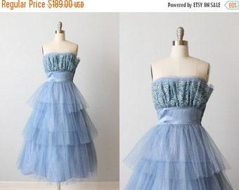 SALE Vintage 1950s Dress / Prom Dress / Party Dress / Formal Dress / Blue / Socialite