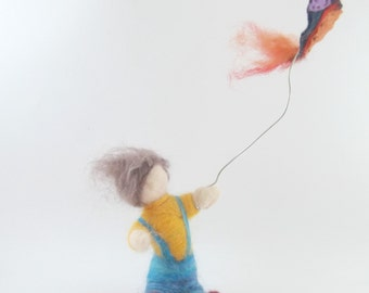Needle Felted Waldorf Boy with Kite - Soft Sculpture - Ready to Ship