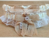 Lovely Vintage Style Ivory Lace Garter Set with Burlap and Vibrant Crystal Accents...