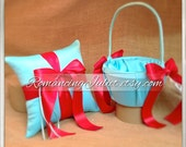 Custom Colors Flower Girl Basket and Romantic Satin Ring Bearer Pillow Combo...You Choose the Colors....shown in turquoise/red