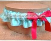 Satin Skirted Satin Bridal Garter...Custom Colors Available..shown in aqua/red