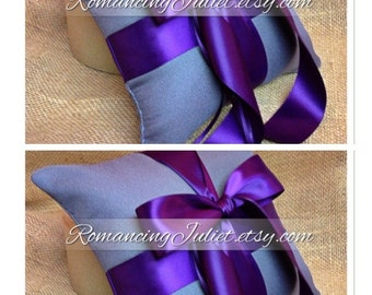 Romantic Satin Ring Bearer Pillow Set of 2...You Choose the Colors..shown in charcoal gray/eggplant purple