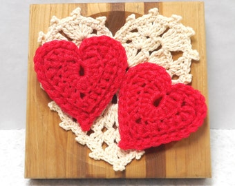 Pot Scrubbers. Hearts, durable, eco-friendly, cleaning aid, home, scour pad, gift, yellow, red, orange, nylon net. 2 pack of hearts.
