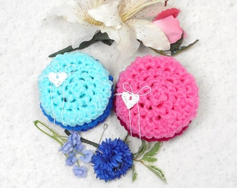 Pot Scrubbers, wedding gift, scouring pads, bakeware cleaner, nylon net, home and kitchen cleaning aid. Wedding Collection in a 6pk.