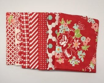 FALL SALE - Fat Quarter Bundle (7) - Handmade in Red - Bonnie and Camille for Moda Fabrics