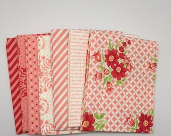 FALL SALE - Fat Quarter Bundle (7) - Handmade in Pink Coral - Bonnie and Camille for Moda Fabrics