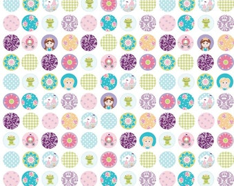 SPRING SALE - 2 1/2 yards - Dream and a Wish - C4813-Dots in White - Sandra Workman for Riley Blake Designs
