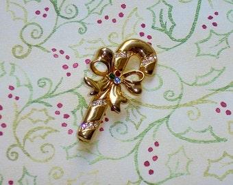 Vintage Candy Cane Christmas Brooch Pin Rhinestones, Gold Tone Metal, Signed Merksamer