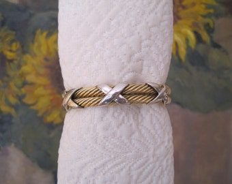 14K Yellow Gold Double Cable Cuff Bracelet White Gold Triple X  Classic and Flawless!