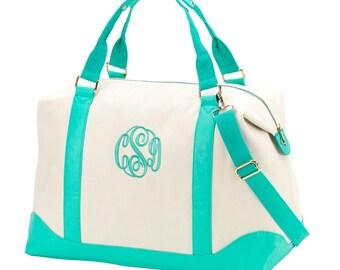 Personalized Mint Green Sullivan Weekender Bag