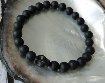 MEN'S  ONYX  SKULL Bracelet, yoga, tribal, boho