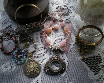 Destash Lot of 6 pieces Salvaged Jewelry Recycle, Repair, Mixed Media