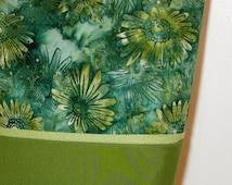 Green & Teal Floral BATIK TOTE BAG // Ladies' Handbag // Purse // Double Handles // Magnetic Snap Closure
