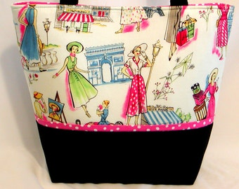 Springtime In Paris LADIES' TOTE BAG Retro French Fashions Print Pink/Black/White Double Straps Women's Fabric Purse