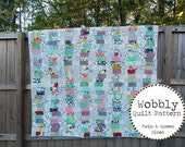 Wobbly Quilt Pattern, Twin and Queen Sizes, EASY