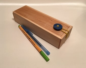 Wooden Pencil Case With Button Closure - Maple