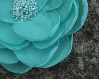 Mint Green Colored Flower Hair Pin or Brooch