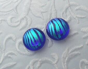 Dichroic Earrings - Stud Earrings - Post Earrings - Fused Glass - Glass Earrings - Small Post - Teal Blue X1249