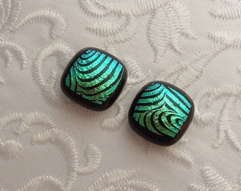 Blue Green Earrings - Dichroic Fused Glass Earrings - Dichroic Earrings - Stud Earrings - Post Earrings - Small Earrings 1697
