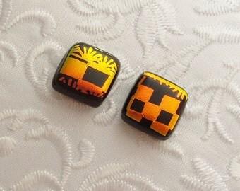 Orange Earrings - Dichroic Fused Glass Earrings - Dichroic Earrings - Stud Earrings - Post Earrings - Small Earrings 1741