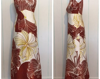 Hibiscus Hawaiian Maxi Dress Size 8