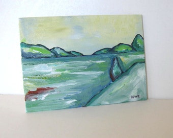 ORIGINAL Acrylic Landscape Painting Pastel Impressionist Contemporary Abstract Green Pink Tree Fields Modern Art 5 x 7 Gift Idea