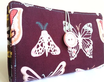 Tampon and Pad Holder Butterflies Dark Plum Salmon (Privacy) Wallet - Papillon