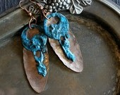 Coin Earrings, Old Keys, Primitive Earrings
