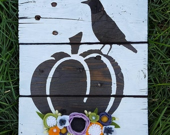 Halloween pumpkin and crow sign with felt flowers