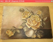 30% Off SALE- Gorgeous Antique Oil Painting Victorian Sunday Yellow Roses