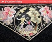 30% Off SALE- Stunning Antique Applique Edwardian Silk Embroidered French