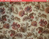 Fall 25% Off SALE- Darling Antique French Cotton Pillow Fabric Jacobean Botanical