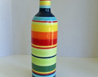 Multi Color Striped Ceramic Bottle