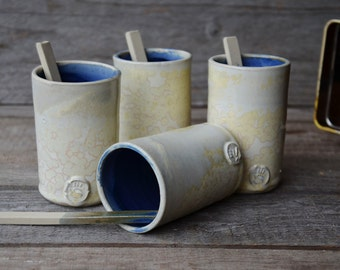 Stoneware Coffe Tumblers with little spoon    -  Stoneware Tumbler - Ceramic Tumbler - set of 4