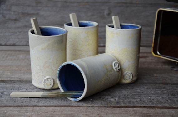 Stoneware Coffe Tumblers with little spoon    -  Stoneware Tumbler - Ceramic Tumbler - set of 4