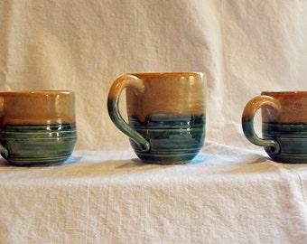 Large coffee/tea mug, 12 oz., Handmade Green and brown mug, large mug by chayatileworks