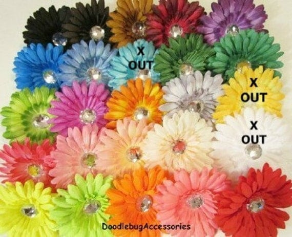 YOU PICK 12 (1 Dozen)  Gerber Daisy Flower Heads 4 Inch With 22 mm Crystal Rhinestone