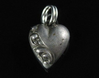 Puffy Heart, Pendant, Sterling Silver, Scroll Pattern, Silver Lovers Charm