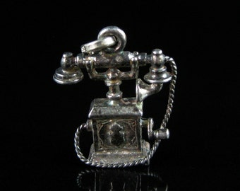 Charm, Sterling Silver, Antique Phone, Sterling Telephone, Home Decor, Household, Work, Give Me A Call