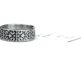wide wedding band . sterling silver wedding band . engraved bohemian Tudor rose ring by peaces of indigo . ready to ship size 6 7 8 9 10