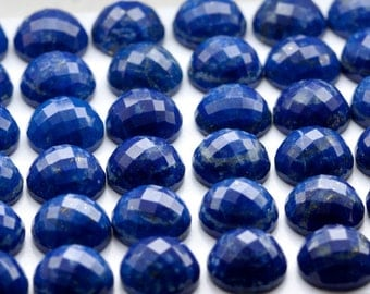 10mm - ONE Gorgeous Checkerboard Cut Round Blue Lapis Lazuli  Cabochon Faceted Royal Blue