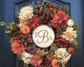 fall wreath, wreath, fall wreaths, wreaths,twoinspireyou, fall, autumn wreath, fall wreaths for door, hydrangea wreath, monogram wreath