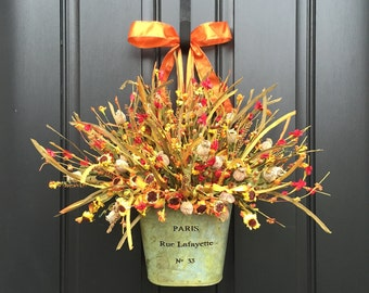 FALL WREATH, Fall Floral Arrangement, Paris Bucket Flowers,Vintage Inspired Fall Wreath,Galvanized Container Flowers,Fall Wreath Alternative